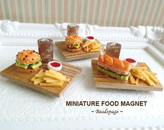 Miniature Food Magnet - Burger/Sandwich, Fridge Magnet, White Board Magnet, Office Kitchen Cute Kawaii Gift Accessories Decoration
