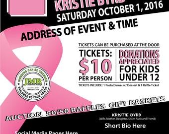 cancer benefit flyer fundraiser flyer cancer ribbon event flyer