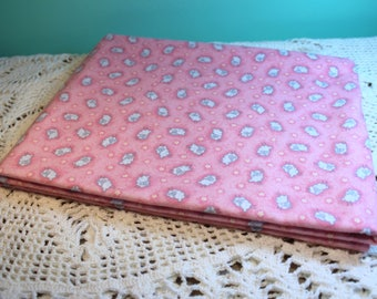 Flannel Receiving Blanket Pink Single Layer Rolled Hem