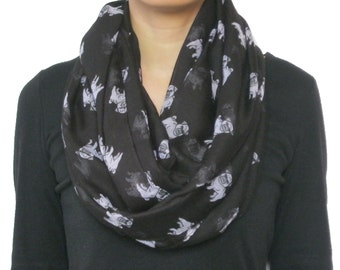 Pretty Pet Pug Dog  Animal Printed Infinity Loop Circle  Scarf  Black For  Dog Lover
