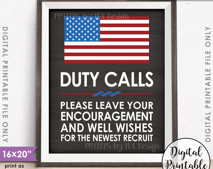 """Military Party Leave your Encouragement & Well Wishes, US Military Boot Camp Party, 8x10/16x20"""" Chalkboard Style Printable Instant Download"""
