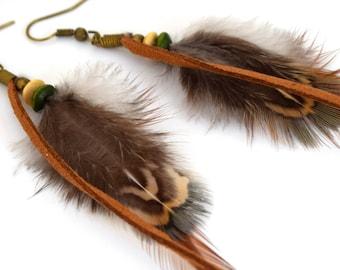 Aquene - Ethnic Feather - ethnic Jewelry - Indian feather earrings