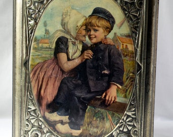 Tin old kids screen printed / b Sirven / folk art / sweetheart / Valentines Day gift idea / sugar box / storage / jewelry