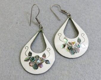 Vintage Alpaca White Enamel and Abalone Shell Pierced Earrings