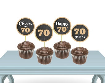 70 Birthday Cupcake Toppers, Gold Cupcake Toppers PRINTABLE, Cupcake Toppers DIY, Instant Download Chalkboard Sign, 70 Birthday Decorations