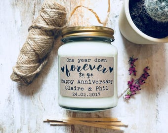 Personalised First Anniversary scented soy wax candle, Anniversary gift, first anniversary, wedding anniversary
