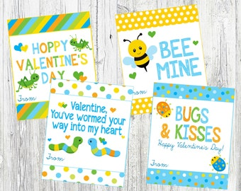 BUGS Valentine's Day Cards. Bugs & Kisses, BEE Mine, Wormed Your Way Into My Heart. Instant Digital Download. BUGS valentines.