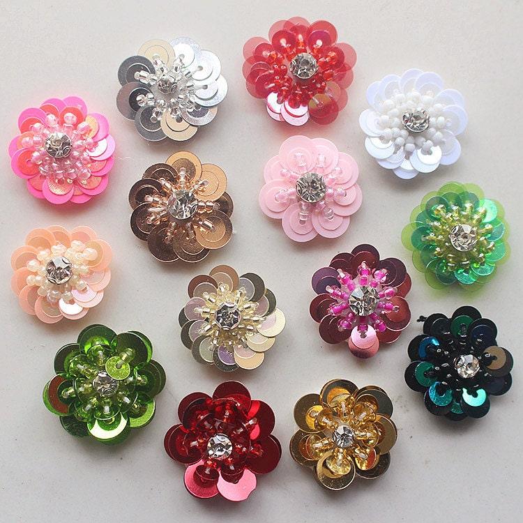Sequin Crystal Beaded Flower Applique cloth stickers DIY garment ...