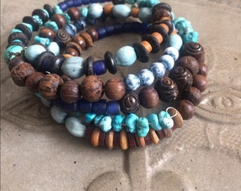 Handmade Artisan Turquoise Spiral Braclet