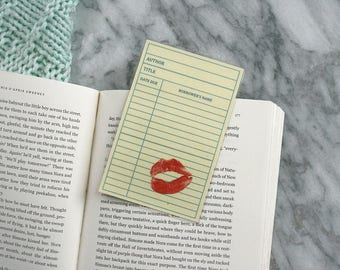 Lipstick Library Card / Laminated Bookmark / For Book Lovers / in Yellow