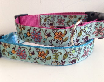 Teal Flowers Print 1 inch Large Dog Collar on Pink, Blue or Black Nylon
