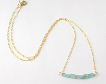 Aqua Apatite Beads on Gold Filled Bar Necklace - 16 inches