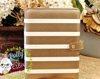 A5 Binder, Gold Stripe Planner Notebook,Personal Sizer Planner Binder, Planner Organizer, Leather Binder, Ring Binder, Planner Organizer