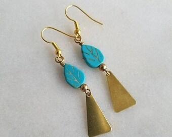 destash Turquoise Blue Leaf Earrings, Gold Brass Dangles