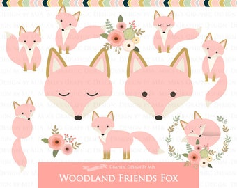 Fox Clipart, Pink Fox, Woodland Friends, Fox Digital, Fox Clip Art - Instant Download - CA168