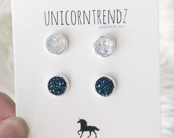 Tiny Earrings, Glitter White Earrings, Dark Blue Studs, Tiny Studs, Tiny Earring Gift, Silver Earring Studs, Petite Earrings, Small Earrings