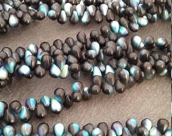 50 Matte Black Czech Glass 4x6mm Teardrop Beads with Rainbow Lustre