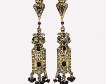 Natural Caylon Sapphire Chandelier Earrings 925 Sterling Silver Two Tone Victorian Women Vintage Antique Bohemian Ethnic Jewelry Mothers New