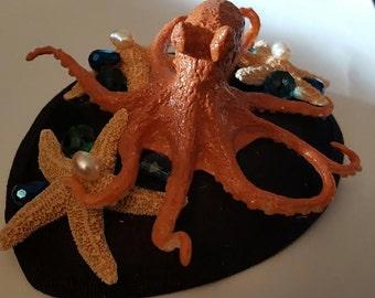 Octopus, Octopus hat, Octopus fascinator, Ready to ship, MsFormaldehyde, Steampunk, Cephalod,