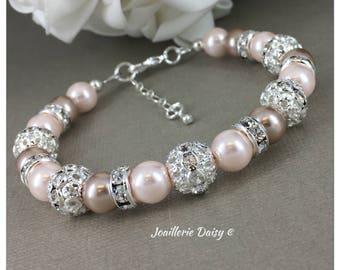 Blush Wedding Taupe and Blush Bracelet Jewelry Bridesmaid Gift for Her Bridesmaid Jewelry Gift for Women Wedding Jewelry Maid of Honor
