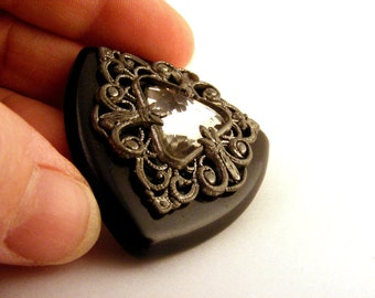 Victorian Style Button Black Bakelite Rhinestone Shank Large Triangle Filigree