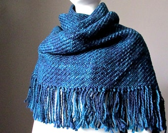 Dark Denim Blue Winter scarf Chunky Oversized Knit Fringed Blanket Scarves Triangle Knitted Shawl Accessories Gift for Her Christmas gifts