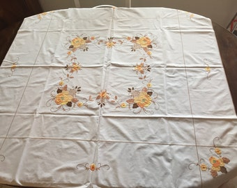 Vintage White Tablecloth with Embroidered/Applique Flowers