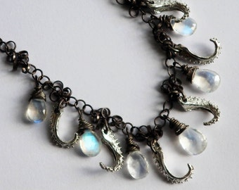 Moon Tentacle, Sea Witch Necklace-Sterling & Rainbow Moonstone