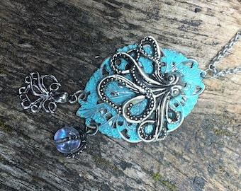 Fantasy Pirate Steampunk Cthulu Octopus Pendant Necklace