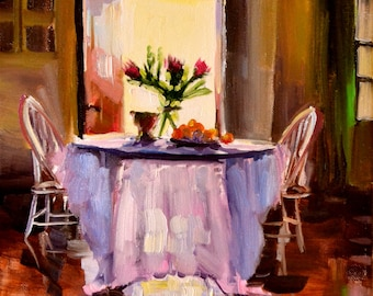 TABLE DE CUISINE Art Print of Original Oil Painting, Sunlit Room