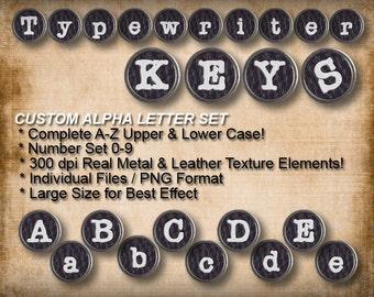 Typewriter Keys Graphic Alpha Letter Set V1  (Digital Download)
