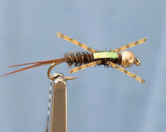 3 Rubber Leg Nymph Fly, #8, Fly Fishing Flies, Trout Flies, Nymph Flies, Hand Tied Flies