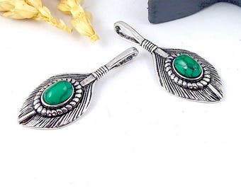 1 Bohemian antique silver feather and 37mm turquoise howlite pendant