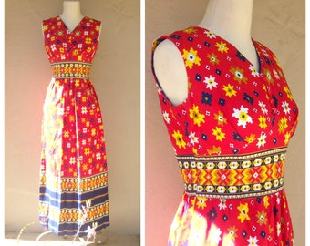 70s floral maxi dress / red yellow navy / ethnic print maxi dress / OOAK boho cotton summer dress / small xs