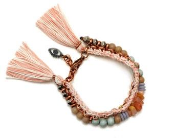Beaded Bracelet, Tassel Bracelet, Mineral Bracelet, Pastel Bracelet, Boho Chic Bracelet, Hippie Bracelet, Evil Eye Bracelet
