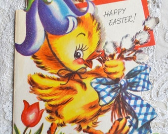 Vintage Easter Card - Chick in Glitter Flower Hat - Used
