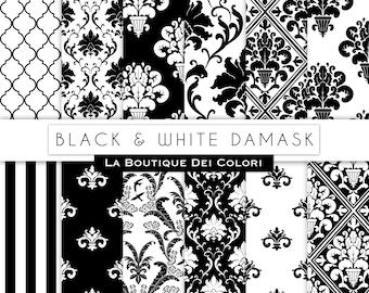 Black damask digital paper. black and white digital paper pack of damask backgrounds patterns for commercial use clipart