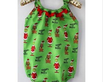 The Grinch Romper OR Skirt, Baby Toddler Rompers, Sunsuit, Christmas Outfit, Girls Skirts, Bow, Holiday, Gifts, Boho, Headwrap, Dr. Seuss