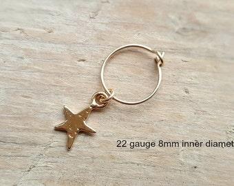 Helix Earring , Cartilage Hoop , Star  Helix Hoop , Gold Helix Piercing , Nose Ring ,  22ga/20ga , 8mm inner diameter , Single