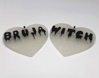 Heart Bruja or Witch Necklace Pendant