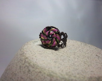 Clearance, Pink Ring, Swirled Polymer Clay, Unique, Adjustable, Antique Bronze, Spring, Summer