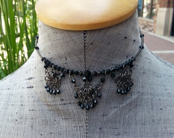Scalloped Jet Black Swarovski Crystal Chainmaille Choker Necklace Renaissance Medieval Jewelry Jewellery, Hanan Hall Maillewerks Jewelry