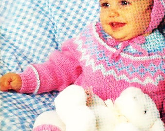 Fair Isle PDF Knitting Pattern for Children / Pullover, Leg Warmers, Hat Set/ Instant Download/4 Sizes/Knitting Pattern- 43