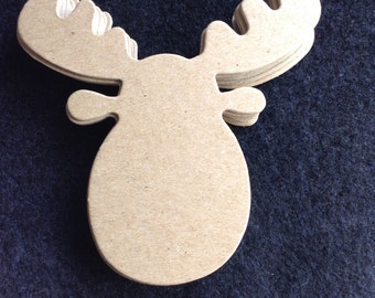 Chipboard Moose Head-DIY Woodland Tags-Ornaments-Signage-Cupcake-Straw Topper-Kid's Party Decor-Hunting-Nature-Moose Head Shape Tag Blanks