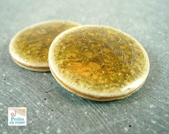 1 cabochon ceramic Crackle, diameter 25mm (cab22)
