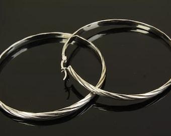 Solid 925 Sterling Silver big hoop earrings