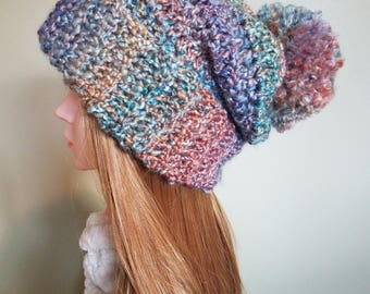 Crochet Slouchy Beanie, Pom Pom Hat, Women's Winter Hat - Painted Desert