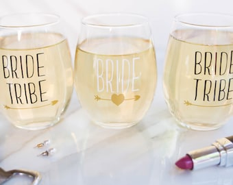 Bachelorette Party - Bride Tribe Wine Glass - Bridesmaid Gift - Gifts Under 10 - Bridal Party Gift - Bride Tribe Favors - Party Glass - Cups