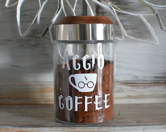 Glass Coffee Canister - Harry Potter Inspired