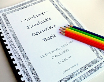 Coloring Book, Intricate Zentangle Inspired Printable, Instant Download, 12 Coloring Patterns, Zendoodles to Color